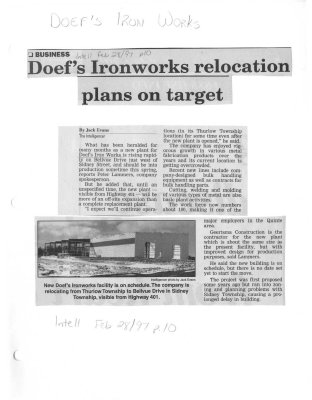 Doefs Ironworks relocation plans on target