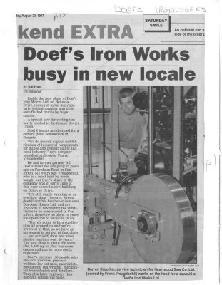 Doefs Iron Works busy in new locale