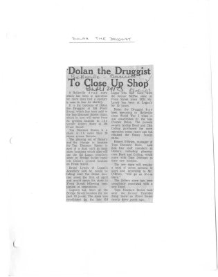 Dolan the Druggist to close up shop