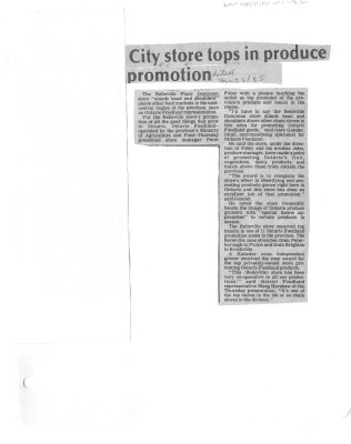 City store tops in produce promotion: Dominion Store