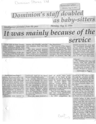 Dominions Staff doubled as baby-sitters It was mainly because of the service