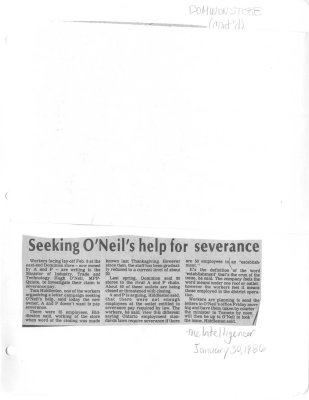 Seeking O'Neils help for severance