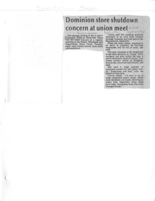 Dominion store shutdown concern at union meet
