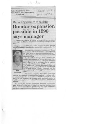 Domtar expansion possible in 1996 says manager