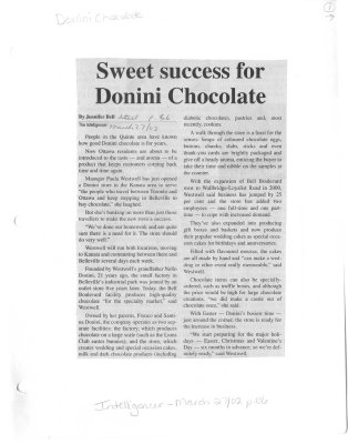 Sweet success for Donini Chocolate