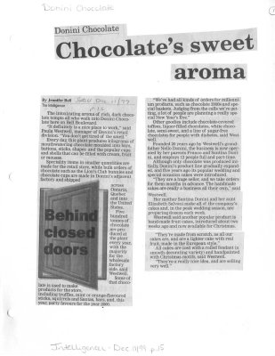 Chocolates sweet aroma: Donini Chocolate