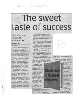 The sweet taste of success: Donini Chocolates