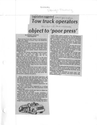 """Tow truck operators object to """"poor press"""":Dougs Towing"""