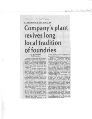 Company's plant revives long local tradition of foundaries