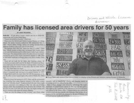 Family has licensed area drivers for 50 years: Driver and Vehicle Licence Bureau