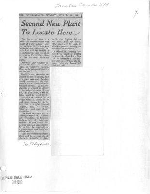 Second New Plant To Locate Here: Durabla Canada Ltd
