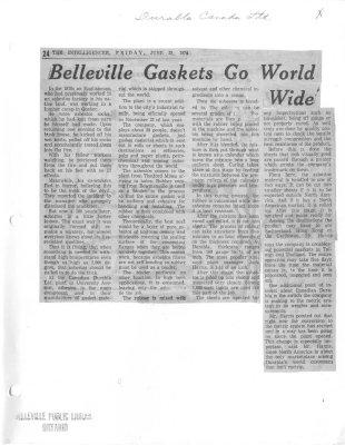 Belleville Gaskets Go World Wide: Durabla Canada Ltd
