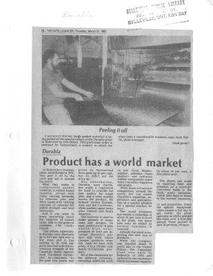 Product has a world market: Durabla