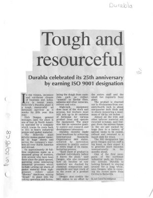 Tough and resourceful - Durabla celebrated its 25th anniversary by earning ISO 9001 designation