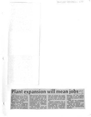 Plant expansion will mean jobs: Dussek Campbell Ltd