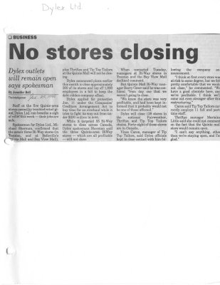 No stores closing: Dylex Ltd
