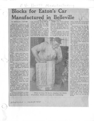 Blocks for Eaton's Car Manufactured in Belleville: Burtt Manufacturing