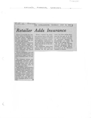 Retailer Adds Insurance: Eatons Financial Services