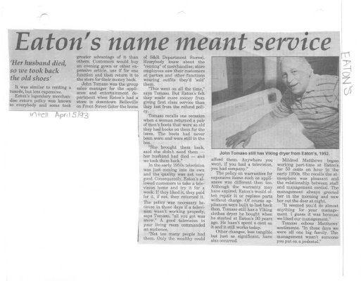 Eatons name meant service