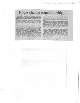 Hours change sought for video: Economy Home Video