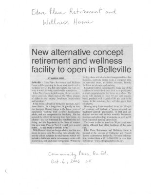 New alternative concept retirement and wellness facility to open in Belleville: Eden Place Retirement and Wellness Home