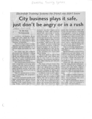 City business plays it safe just don't be angry or in a rush: Electrolab Training Systems