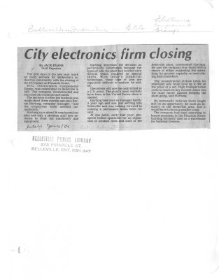 City electronics firm closing: Electronic Components Group