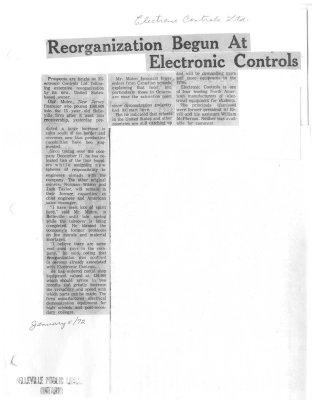 Reorganization Begun at Electronic Controls