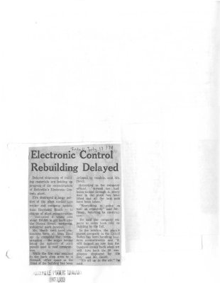 Electronic Control Rebuilding Delayed