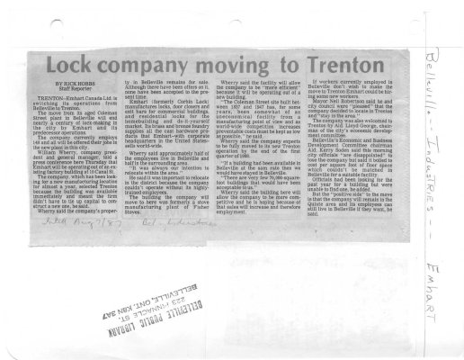 Lock company moving to Trenton: Emhart
