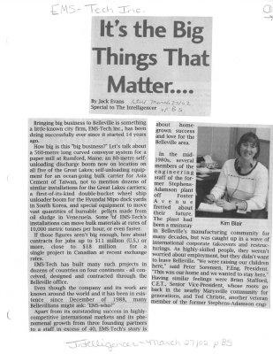 It's the Big Things That Matter...:EMS-Tech Inc