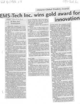 EMS-Tech Inc wins gold award for innovation