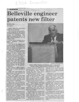 Belleville engineer patents new filter: ESSA Corporation