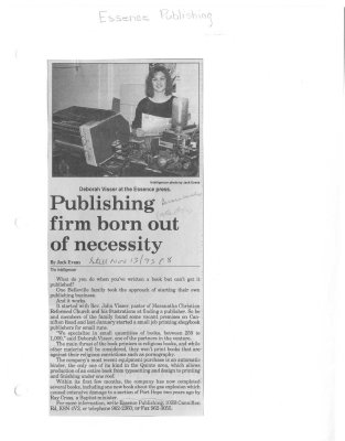 Publishing firm born out of necessity: Essence Publishing