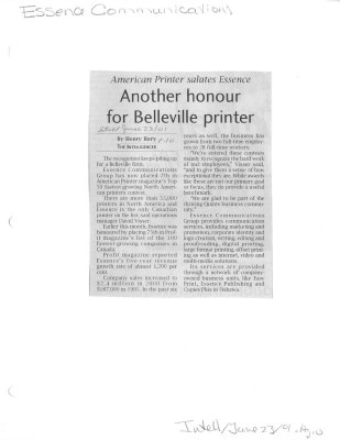 Another honour for Belleville printer