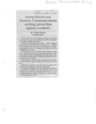 Solving financial woes Essence Communications seeking protection against creditors
