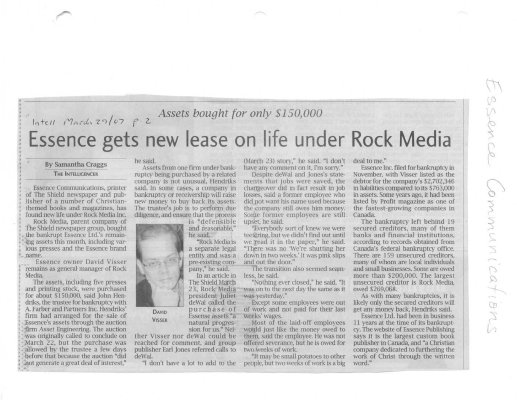Assets bought for only $150,000 - Essence  gets new lease on life under Rock Media
