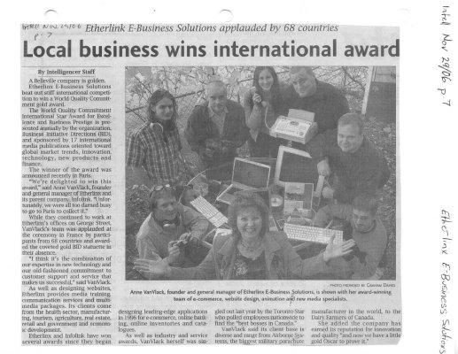 Local business wins international award: Etherlinx E-Business Soltuions