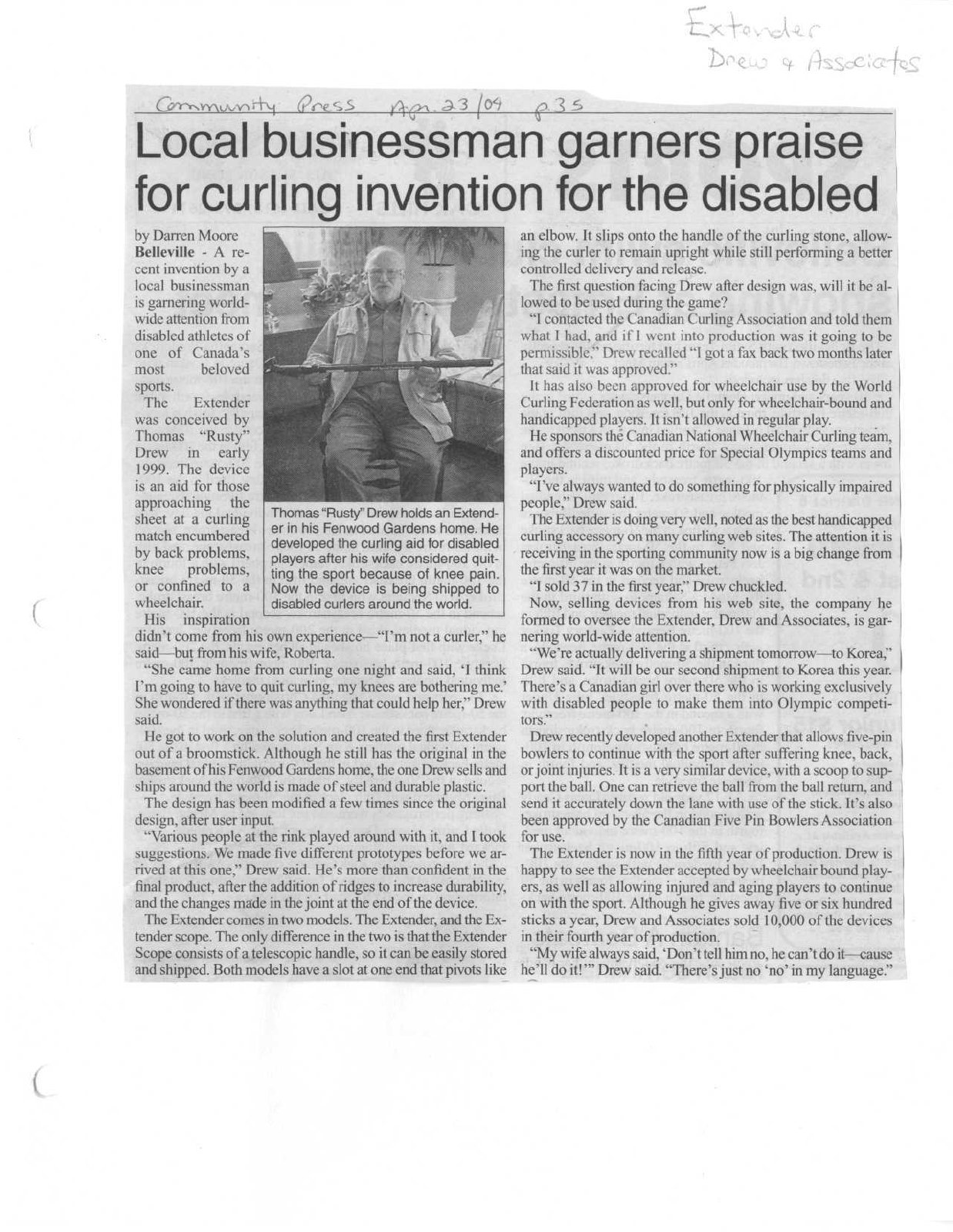 Local businessman garners praise for curling invention for the disabled