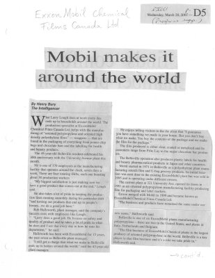 Mobil makes it around the world: Exxon Mobil Chemical Films Canada Ltd