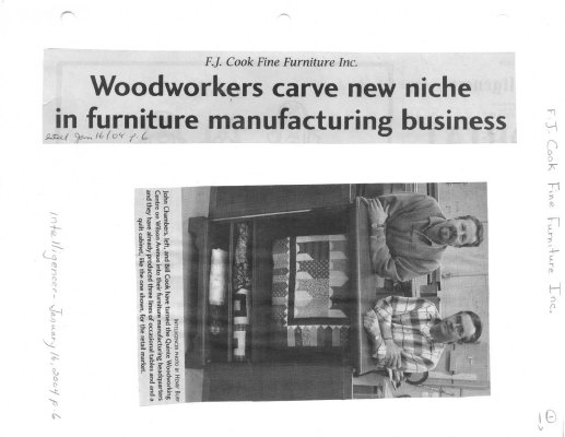 Woodworkers carve new niche in furniture manufacturing business: FJ Cook Fine Furniture Inc