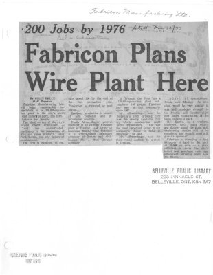 200 Jobs by 1976 - Fabricon Plans Wire Plant Here