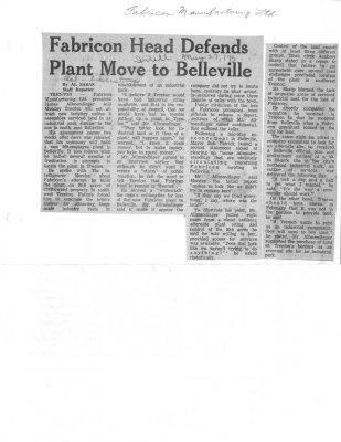Fabricon Head Defends Plant Move to Belleville