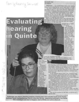 Evaluating hearing in Quinte: Family Hearing Services