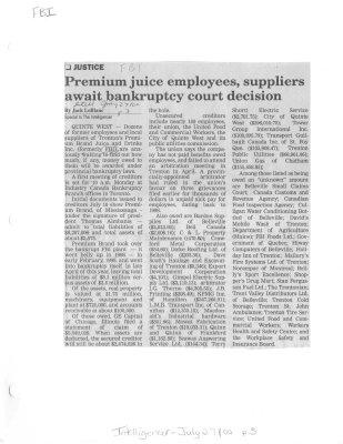 Premium juice employees, suppliers await bankruptcy court decision: FBI