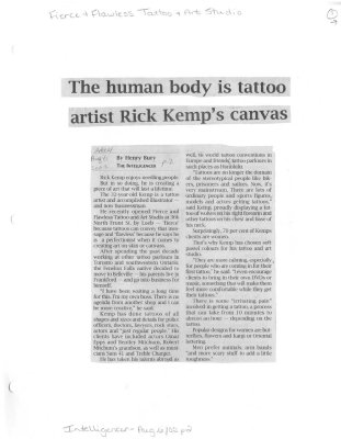 The human body is tattoo artist Rick Kemps canvas: Firece and Flawless Tattoo and Art Studio