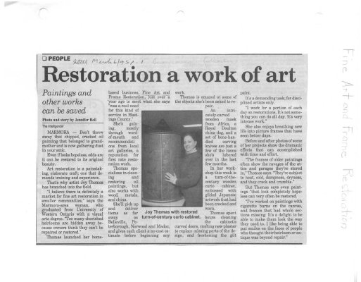 Restoration a work of art:Fine Art and Frame Restoration