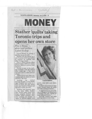 """Stather """"quilts"""" taking Toronto trips and opens her own store"""