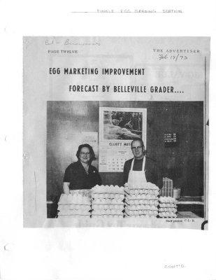 Egg Marketing Improvement Forecast by Belleville Grader: Finkle Egg Grading Station
