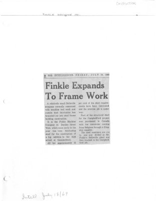 Finkle Expands To Frame Work: Finkle Machine Company